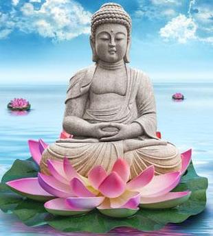 Bouddha qui médite sur un lotus (point d'appui spirituel )