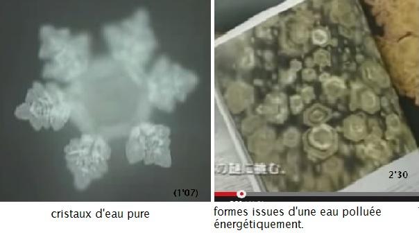 cristaux d'eau pure; polluée